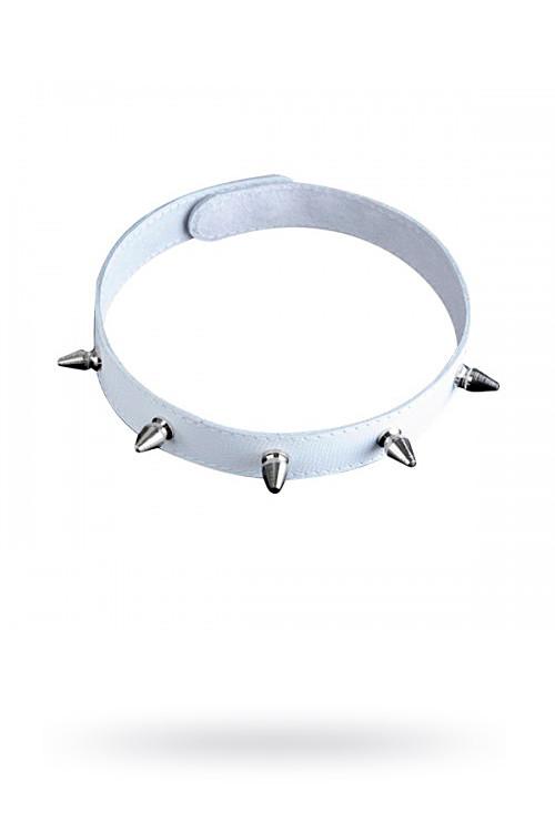 Ошейник кожаный белый шириной 20мм с шипами длиной 12мм на кнопках  3102-3