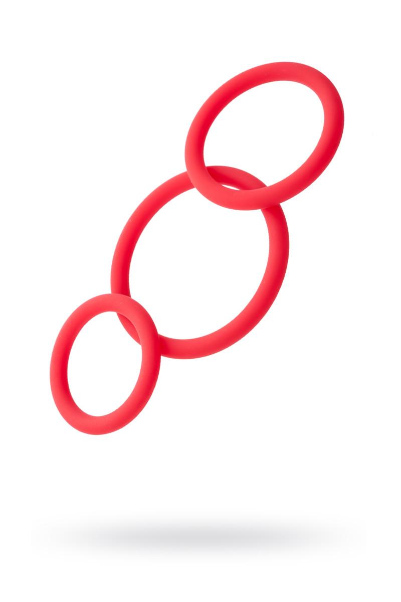 Набор эрекционных колец Black & Red TOYFA, силикон, красный, O6/5/4 см