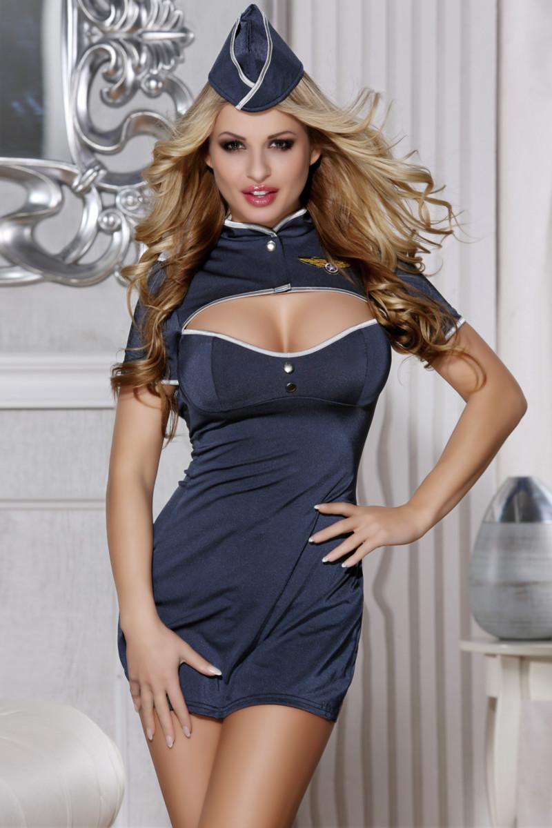Костюм пилота Candy Girl Jezebel (платье,стринги, головной убор), синий, XL