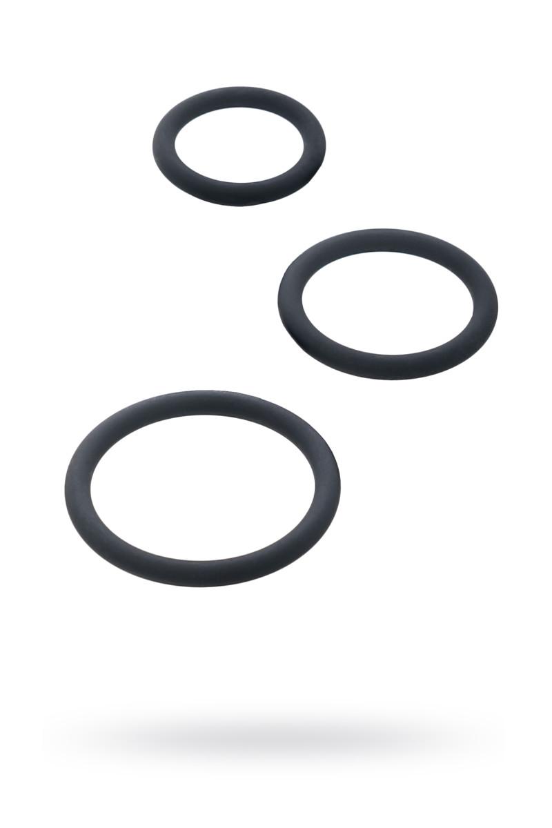 Набор эрекционных колец Black & Red by TOYFA, силикон, чёрный, O5/4/3,2 см