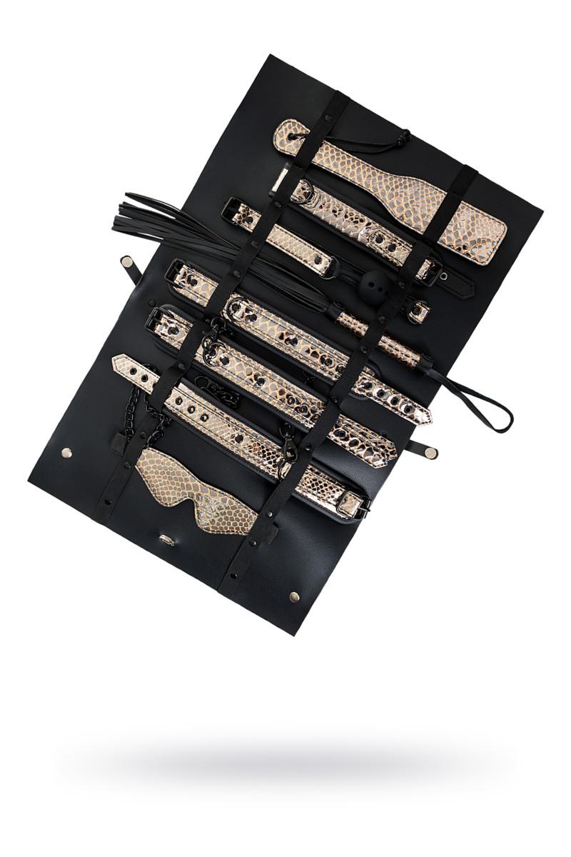 БДСМ набор Goddess (маска, кляп, ошейник, поводок, пэдл, флоггер, наручники, оковы на ноги), золотисто-черный