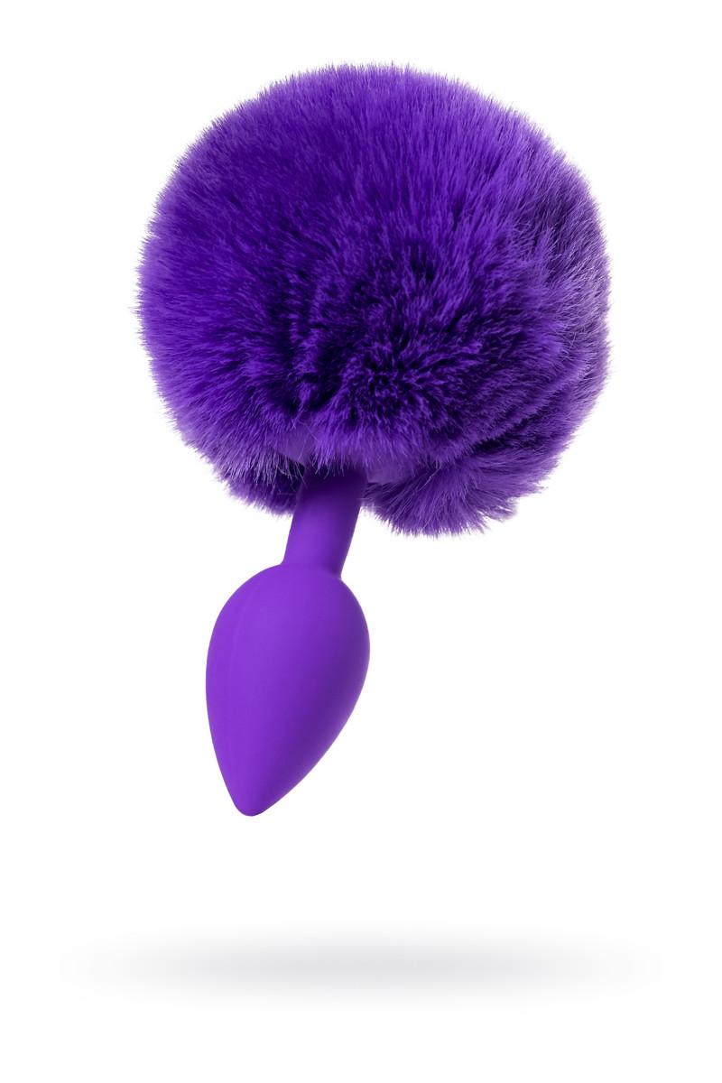 Анальная втулка с хвостом ToDo by Toyfa Sweet bunny, силикон, фиолетовая, 13 см,  2,8 см, 42 г