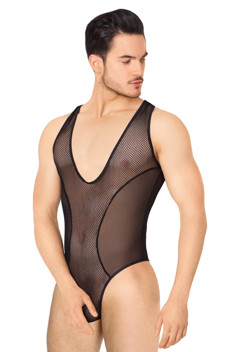 Боди из сетки мужское SoftLine Collection, чёрный, M/L