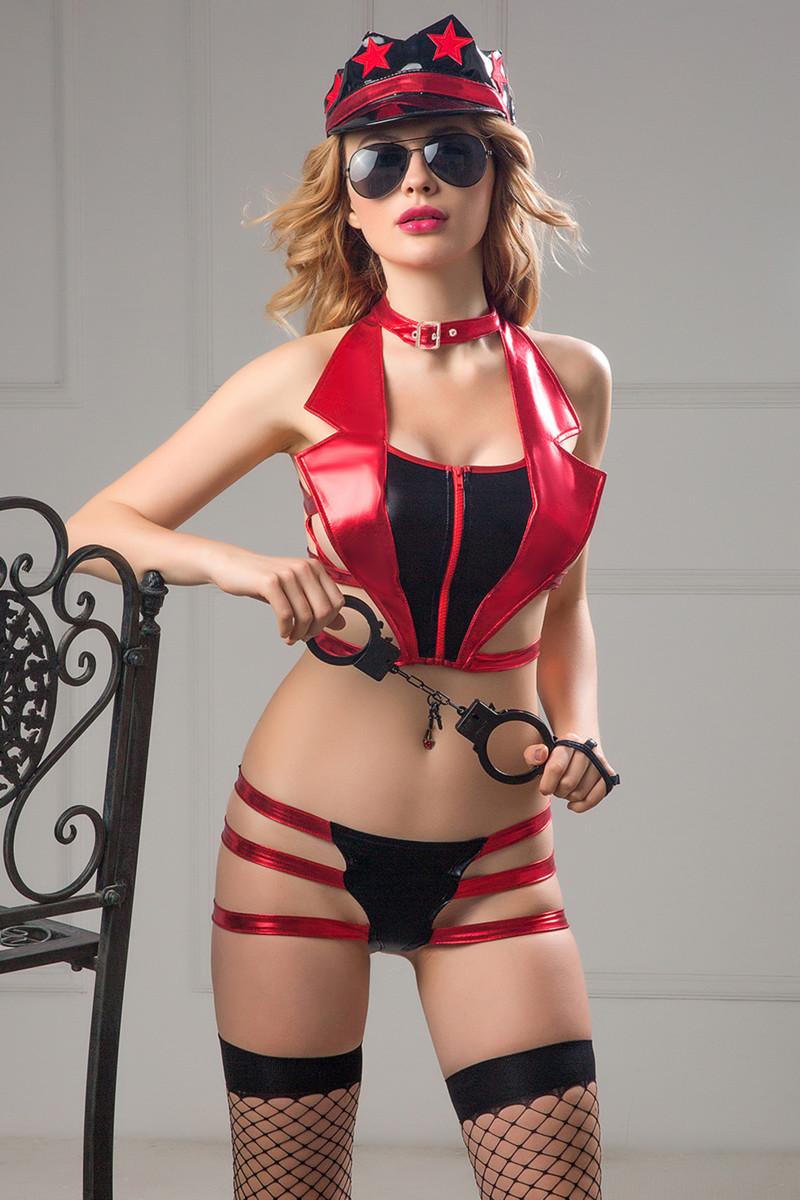 Костюм полицейской Candy Girl Roxy (топ,трусики,головной убор,очки,чулки,наручники) OS